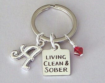 Personalized sobriety keyring, recovery keychain, gift for him or her, Living Clean and Sober with initial, crystal birthstone, unisex gift