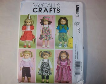 "New McCall's 18"" Doll Clothing Pattern, 5554 (Free US Shipping)"