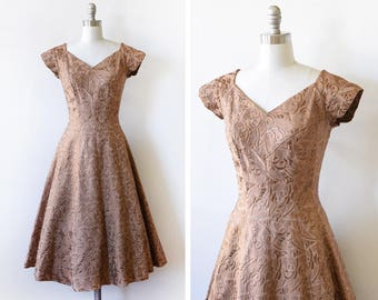 50s brocade dress, vintage 1950s dress, embroidered floral party dress, medium m