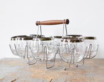 roly poly glasses with caddy, vintage 60s barware cocktail set, mid century modern mad men glasses set