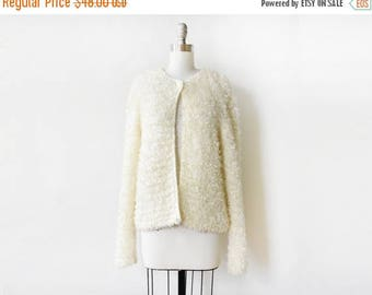 20% OFF SALE white shaggy cardigan, vintage 90s cream cardigan, medium cardigan