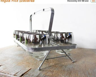 20% OFF SALE silver roly poly glasses with caddy, silver ombre mid century cocktail set, 1960s barware