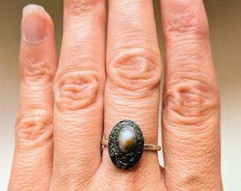 679 Pyrite encrusted tiny opihi shell ring on sterling silver bezel, size 6