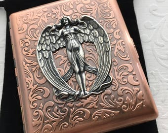Large Size Angel Copper Cigarette Case Extra Big Antiqued Copper Metal Wallet Gothic Victorian Angel Steampunk Case NEW