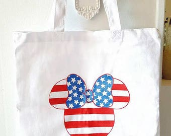 Patriotic Minnie Mouse, Canvas Tote, Disney Inspired, Hand Painted