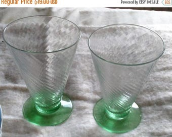 SALE TODAY Sherbet Tumbler Optic Green Footed Glasses set of 2