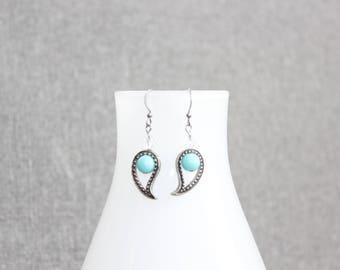 Boucle d'oreille, paisley, turquoise, étain, pewter, bijou femme, femme, bijoux québécois, perle, chic, classique contemporain, intemporel