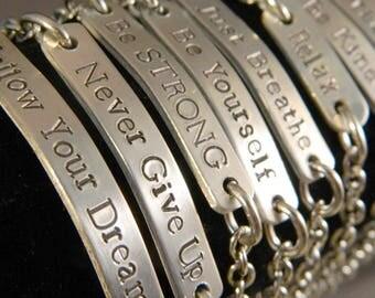 Positive Inspirational Thoughts Handstamped Aluminum Bracelet