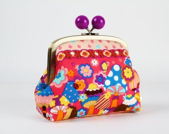 Metal frame clutch bag - Psychedelic mushrooms in pink - Color bobble purse / japanese fabric / blue purple pink fuchsia turquoise orange