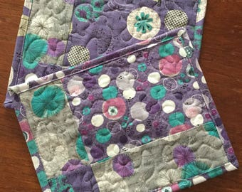 Quilted Mug Rugs Set of 2, Modern Fabric Coasters, Quilted Snack Mats, Grey Purple Turquoise Mug Rugs