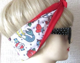 Tattoo Flash Head Scarf Hair Tie by Dolly Cool Mermaid Anchor Nautical Stay True Self Designed Unique Exclusive Fabric