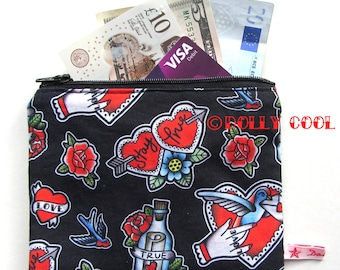 Tattoo Zipper Pouch by Dolly Cool Rose Swallow True Love Self Designed Fabric Heart Old School Tattoo Style