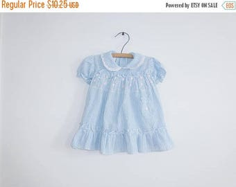 SALE // Vintage Blue Striped Flower Dress