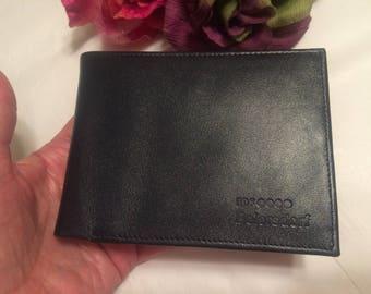 Vintage black leather never used slim wallet, men's black leather Beiersdorf quality wallet, soft black leather slim wallet