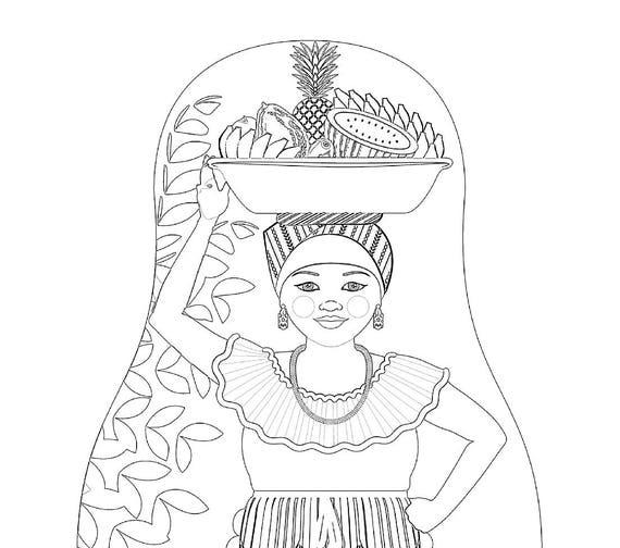 Colombian Palenquera Cartagena Folk Dress Coloring Page Printable