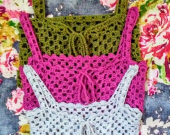 Lacy Handmade Crocheted Crop Top Vest with Lace Up Front