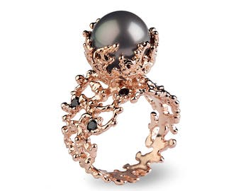 CORAL Tahitian Pearl Ring, Tahitian Pearl Engagement Ring, Black Diamond Engagement Ring, Rose Gold Engagement Ring, Black Diamond Ring