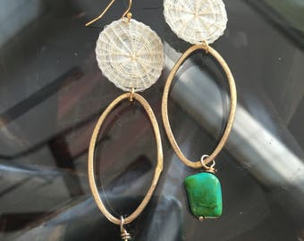 Dangle earrings   Turquoise   White earrings  White and gold   Brushed gold   long earrings