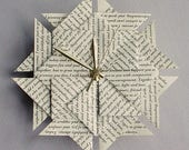 First Anniversary Gift For Her - Your Wedding Vows or Special Song - Origami Clock - Black