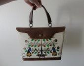 VINTAGE enid collins HANDBAG - 'it grows on trees' - bejeweled handbag - top handle handbag - structured handbag