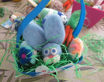 needle felted EASTER EGGS andother goodies in blue bunny  box perfect for gifting or tabletop display