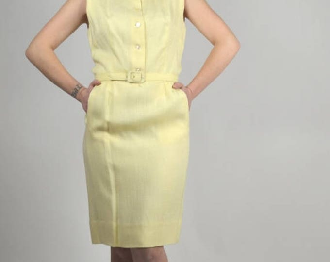 sale Vintage  Dress, Linen Dress, Peter Pan Collar, Yellow Dress, Preppy Dress, Women's Vintage Dress, 60s Dress, Pencil Dress, Wiggle Dress