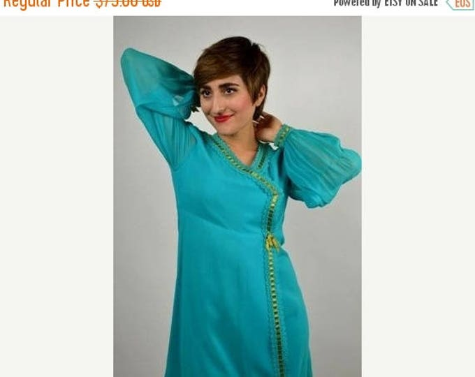 sale Vintage Cocktail Dress, Turquoise Dress, Mini Dress, Silk Dress, 60s Dress, Fancy Dress, Party Dress, Disco Dress, 1960s Dress, Go Go D