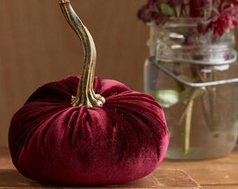 Scented Velvet Pumpkin, BURGUNDY