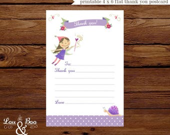 Printable THANK YOU CARD for Sugarplum fairy and gnome, Violet - 4 x 6 flat custom thank you card - fill in the blank