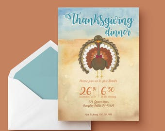 Printable Thanksgiving Dinner invitation, give thanks, turkey thanksgiving