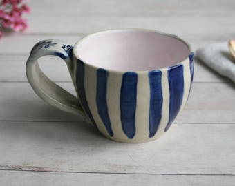11 oz. Coffee Mug in Natural White and Navy Blue Glaze with Stripes Design Pottery Mug Made in USA Ready to Ship
