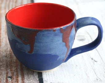 Handcrafted Pottery Mug with Bright Red and Blue Glazes - 14 oz. Wheel Thrown Coffee Cup Ready to Ship Made in USA