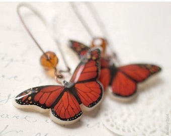 Red Butterfly earrings - Red butterfly wings (E059)