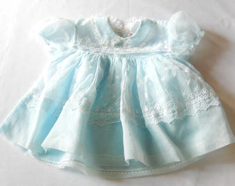 vintage baby girl's dress, 6-9 months, light blue, nylon/lace, 1950s, baby girl's clothing