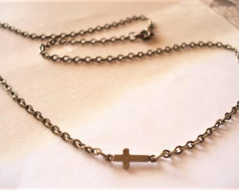 Brass Sideways Cross Necklace Cross Jewelry