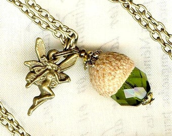 Green necklace & pendant - small forest fairy & TASSEL - H164