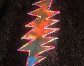 Rainbow Grateful Dead Lightning Bolt Iron On Patch