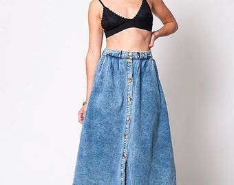 40% SUMMER SALE The Vintage Denim Button Up A Line Skirt