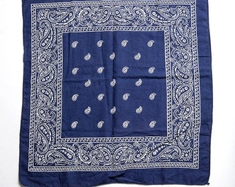 40% OFF The Vintage Navy Indigo Blue Boho Cotton Bandana Hankerchief Scarf