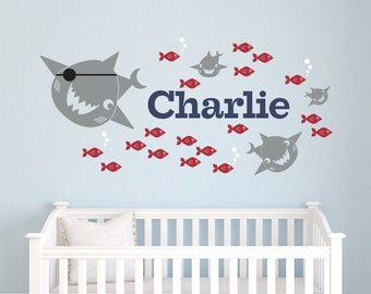 Pirate Shark Wall Decal Personalized Name: Baby Ocean Nursery, Under-the-Sea Fish Room Decor