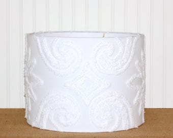 Chenille Drum Shade - White Lamp Shade - Vintage Chenille - Cottage - Farmhouse - Shabby Chic - Table Lamp Shade - Drum Lamp Shade - SWEET!