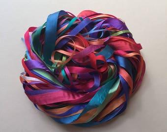 Silk Ribbon Remnants - Rainbow
