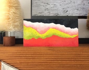 Painting - Mountain Abstract Art Red, Gold, Coral - Original Acrylic Painting on Canvas, Happy Art Decor
