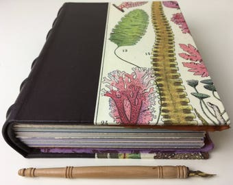 Gorgeous Hand-bound Journal with brown leather spine and algae/seaweed print, deluxe art journal, nature journal, European style blank book