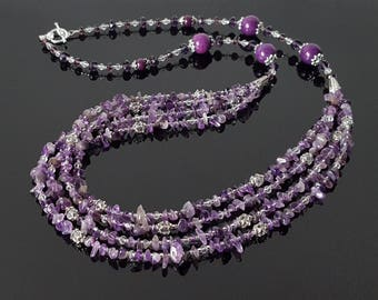 Purple Amethyst Crystals Necklace Birthday Jewelry Gift for her Purple Gemstone Statement Necklace for Women February Birthstone Beauty Gift