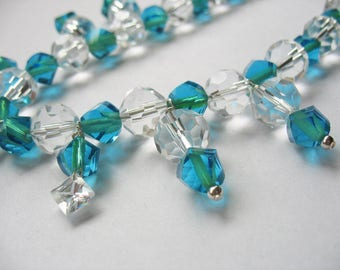 Glass Beaded Necklace Pendant Turquoise Blue Green Crystal Clear CZ Handmade