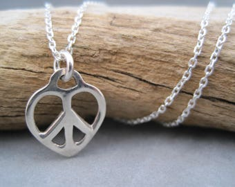 Small Peace and Love Heart Charm Necklace - Minimalist - Peace Sign - Pendant - All you Need is Love - Give Peace a Chance. Vintage Style