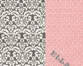 SALE Minky Baby Blanket Girl, - Pink Gray Damask Personalized Baby Blanket // Damask Baby Blanket // Soft Baby Blanket // Name Blanket