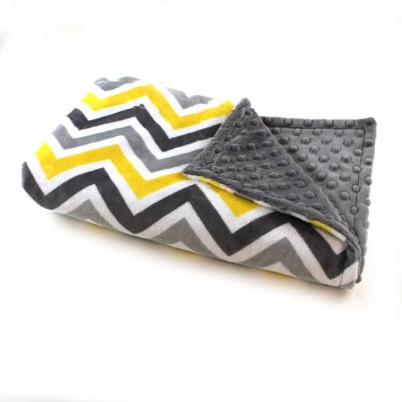 Yellow Gray Chevron Blanket / Minky Baby Blanket Boy, Unisex Chevron Blanket // 29 x 35 in Ready to Ship