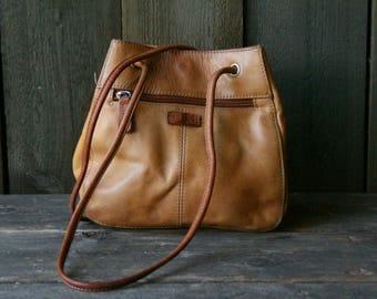 Vintage Leather Fossil Light Tan Purse Shoulder Bag 90s Vintage From Nowvintage on Etsy